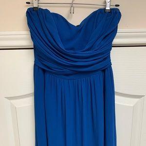 Lulu's strapless electric blue maxi dress